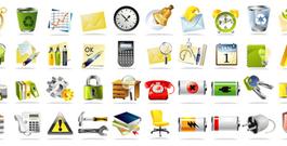 常用系统图标矢量素材 矢量图标,指南针,垃圾桶...